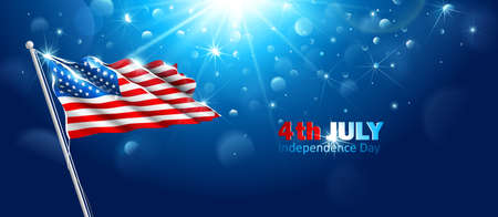 Amerikanische Flagge winken im blauen Himmel. Vektor Illustration