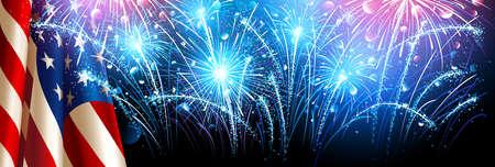 American flag with fireworks. Vector Lizenzfreie Bilder