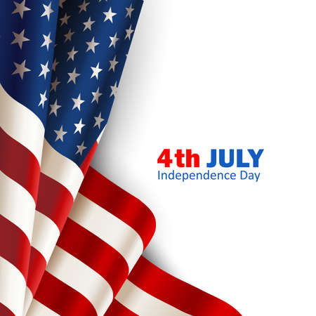 National flag of United States of America on white background. Closeup. Vector illustration