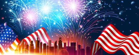 Bunte Feuerwerke für Unabhängigkeitstag von Amerika. Vektor Illustration
