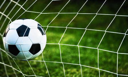 Soccer ball in goal on green grass Foto de archivo