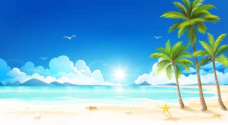 Tropisch eiland met palmbomen. Vector illustratie