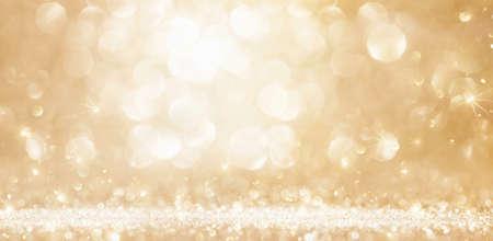 Golden christmas background. Glitter lights effect bokeh
