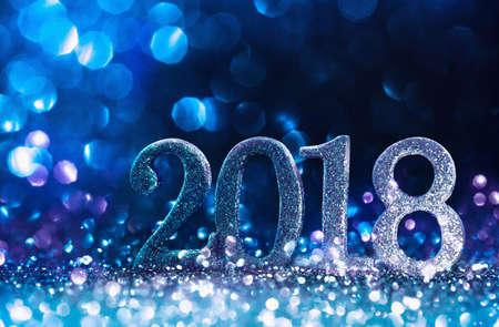 New Year Decoration, Closeup on Blue 2018 Lizenzfreie Bilder