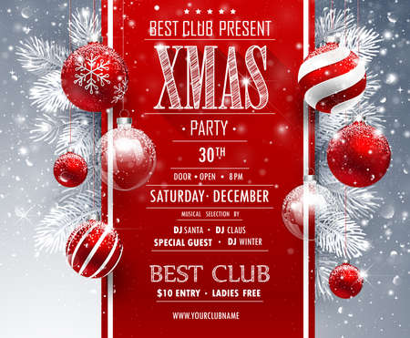 Christmas party design on gray background, vector illustration.
