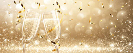 Kieliszki do szampana na jasnym tle z konfetti. Ilustracji wektorowych