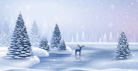 Christmas card with reindeer and snowflakes illustration. Illustration