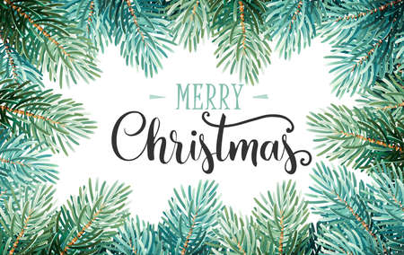Christmas Background with Fir Branches and Handwriting Lettering. Vector Illustration Illustration