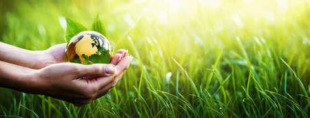 Planeta verde en tus manos. Salvar la Tierra. Concepto de medio ambiente