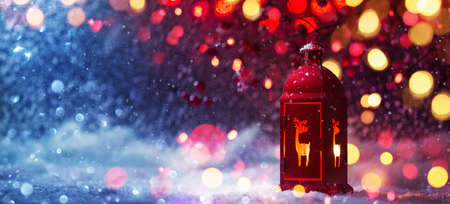 Winter Decoration with a Candlestick Near and Colored Lights and Snow Effects. Christmas Background Standard-Bild - 109103420