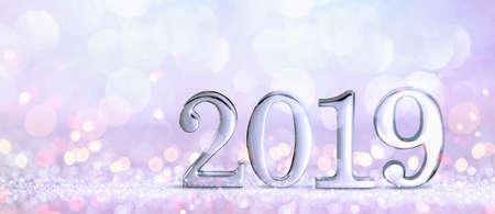 New Year Decoration, Closeup on Silver 2019 Standard-Bild - 109103427