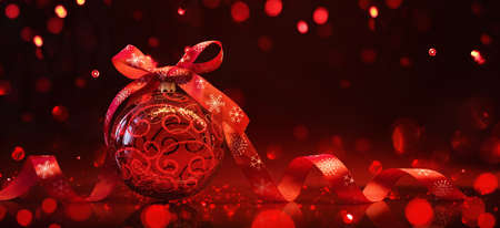 Red Christmas ball with ribbon and bow on red background with reflection and light effects Standard-Bild - 109442646