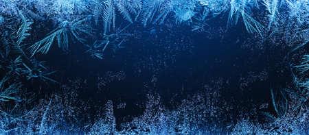 Frosty Natural Pattern on Winter Window. Ice Crystal Texture Standard-Bild - 110026097