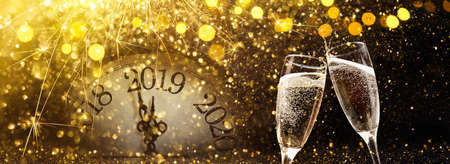 New Years Eve 2019 Celebration Background with Champagne Standard-Bild - 110944566