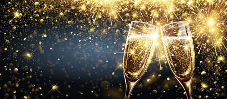Champagne on Bright Background with Bokeh Effect and Magic Firework Explosion of Sparkler. Vector illustration Standard-Bild - 112176435