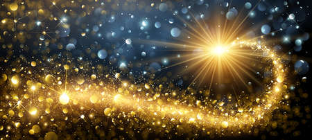 Christmas Background with Gold Magic Star with Bokeh Effects. Vector illustration