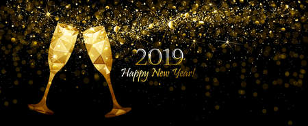 New Year's background with Champagne Low Poly and Flickering Lights. Vector illustration Standard-Bild - 112176437