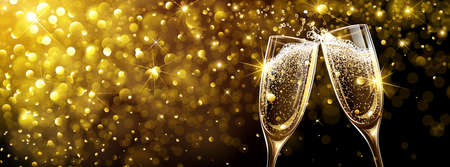 Champagne on Bright Background with Bokeh Effect. Vector illustration Standard-Bild - 112176438
