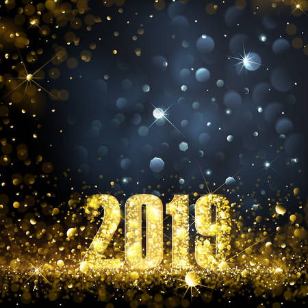Happy New Year Banner with Gold 2019 Numbers on Bright Background. Vector illustration. Standard-Bild - 112176439