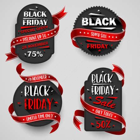 Black Friday Sale Flyers set For Business, Commerce, Promotion and Advertising. Vector illustration Standard-Bild - 112176440