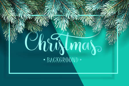 Christmas Background with Fir Branches and Handwriting Lettering. Vector Illustration Standard-Bild - 111232118