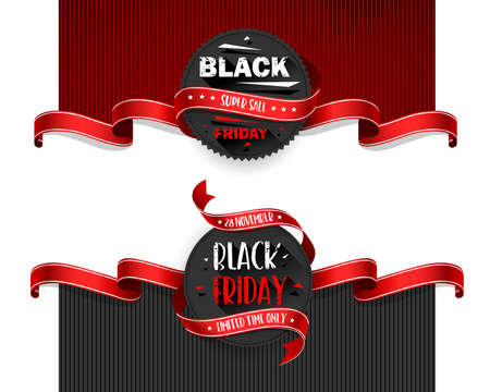 Black Friday Sale Flyers set For Business, Commerce, Promotion and Advertising. Vector illustration Standard-Bild - 112176442