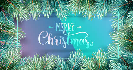 Christmas Background with Fir Branches and Handwriting Lettering. Vector Illustration Standard-Bild - 111238099