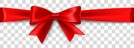 Red Satin Bow Isolated on White Background. Vector illustration Standard-Bild - 112176443