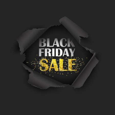 Torn Paper Black Friday Sale. Vector illustration Standard-Bild - 111504520