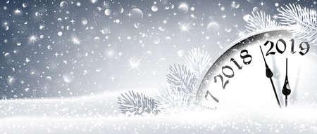 New Year Eve 2019 Winter Celebration With Dial Clock. Vector Illustration Standard-Bild - 111504531
