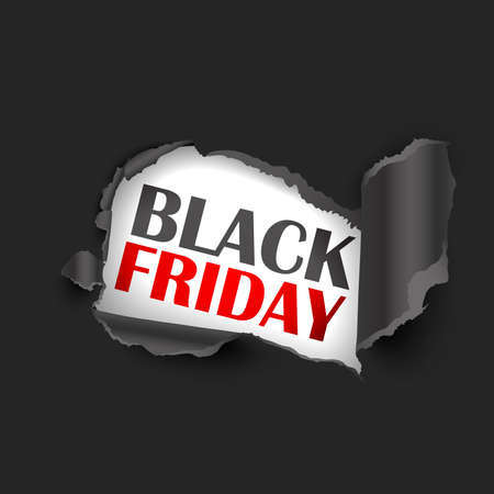 Torn Paper Black Friday Sale, Discount. Vector illustration Standard-Bild - 112176445