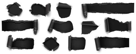 Collection of Torn Black Paper Isolated on White, Sale, Discount. Vector Illustration Standard-Bild - 112176446