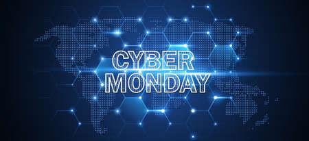 Cyber Monday. Promotional Online Sale Event. Vector Technology illustration Standard-Bild - 111525709