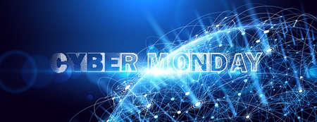 Cyber Monday. Promotional Online Sale Event. Vector Technology illustration Standard-Bild - 112176447