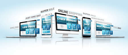 Cyber Monday Online Sale Modern Devices with Web Design Template. Promotional Internet Electronic Event. Vector illustration Standard-Bild - 112176448