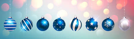 Blue Christmas Balls on Colorful Festive Background. Vector illustration Standard-Bild - 112176453