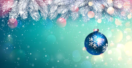 Christmas Blue Ball with Spruce Branches on a Winter Bright Background with Illuminations. Vector illustration Stock Illustratie
