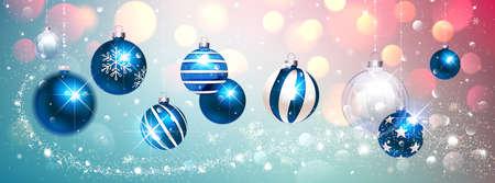 Blue Christmas Balls on Colorful Winter Background. Vector illustration Stock Illustratie