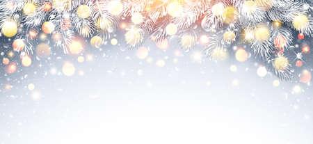 Christmas Fir Branch with Warm Light. Standard-Bild - 112662293