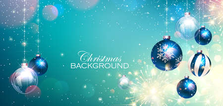 Blue Christmas Balls on Colorful Winter Background and Bengal Lights. Vector illustration