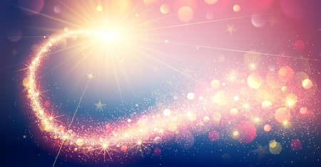 Gold Magic Star, Winter Background with Bokeh Effects. Vector illustration