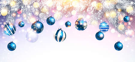 Christmas Decorations with Blue Balls and Fir Branches. Snowy Sparkling Background. Vector illustration