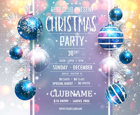 Christmas Party Design Template with Blue Balls. Standard-Bild - 112662312