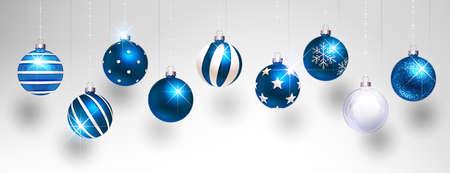 Christmas Blue Balls on Light Background. Vector illustration