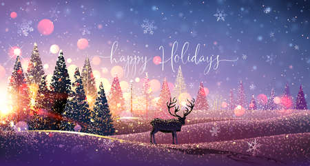 Christmas Card with Reindeer and Snowflakes, Winter Sunny Landscape. Vector illustration