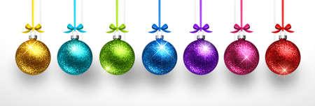 Christmas Colored Balls on Light Background. Vector illustration