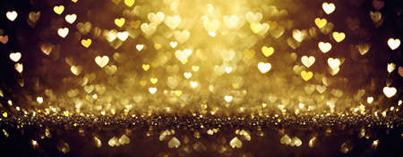 Goldener glänzender Hintergrund mit Herzen. Valentinstag Standard-Bild