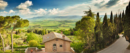 Landscape in Tuscany, Italy. Valley Val d Orcia