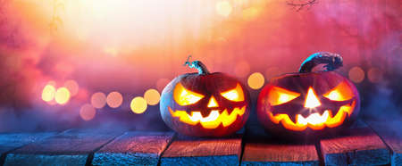 Halloween Background. Jack O Lanterns Glowing In Fantasy Night
