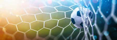 Soccer Ball in Goal on Multicolor Background Stockfoto